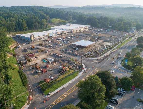 Cortlandt Crossing shopping center aerial lot view