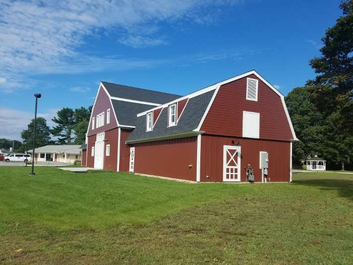 Mitchell College Red Barn finished front right angle
