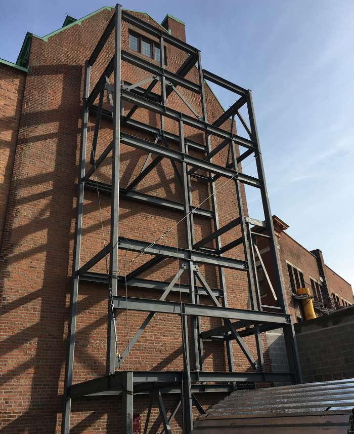 The Pavilion Grace Episcopal Church exterior steel framework view