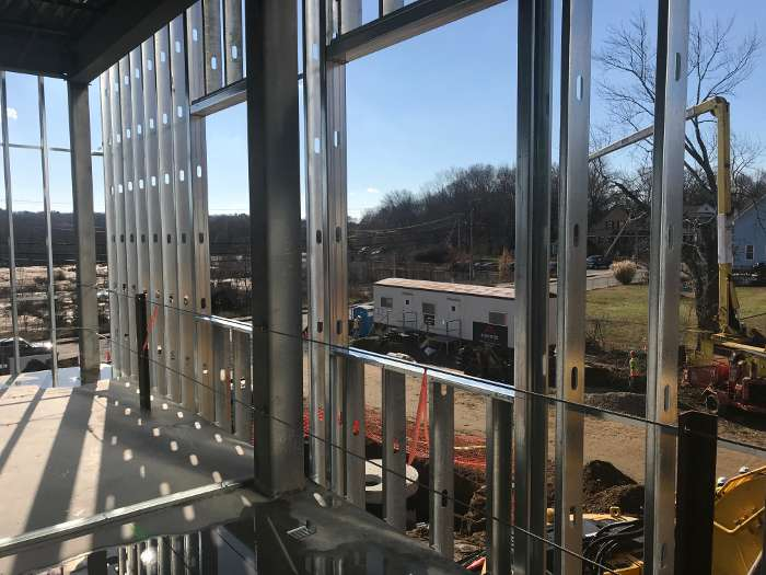 United Community Family Services full structural steel framework window view